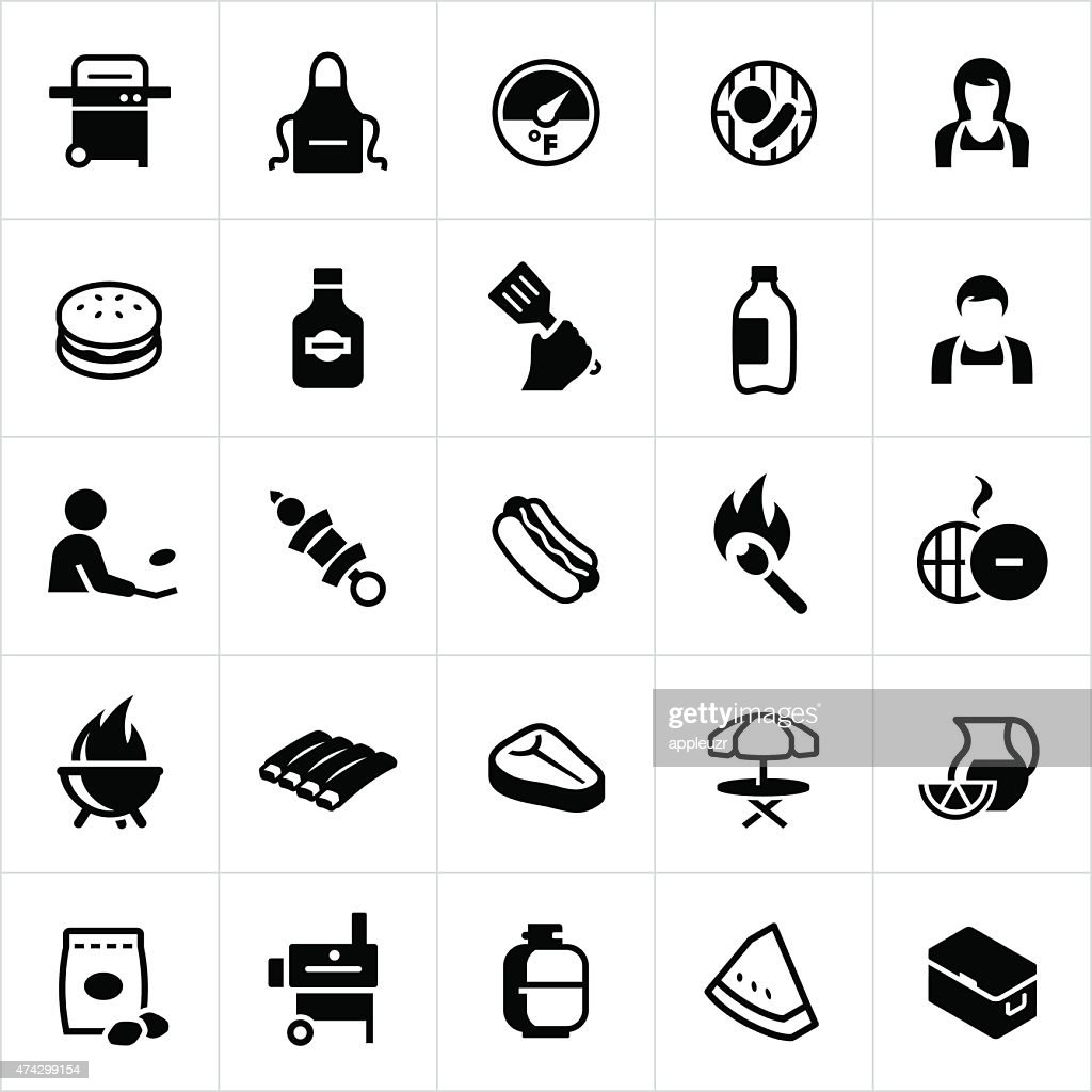 Outdoor Grilling and BBQ Icons : stock illustration