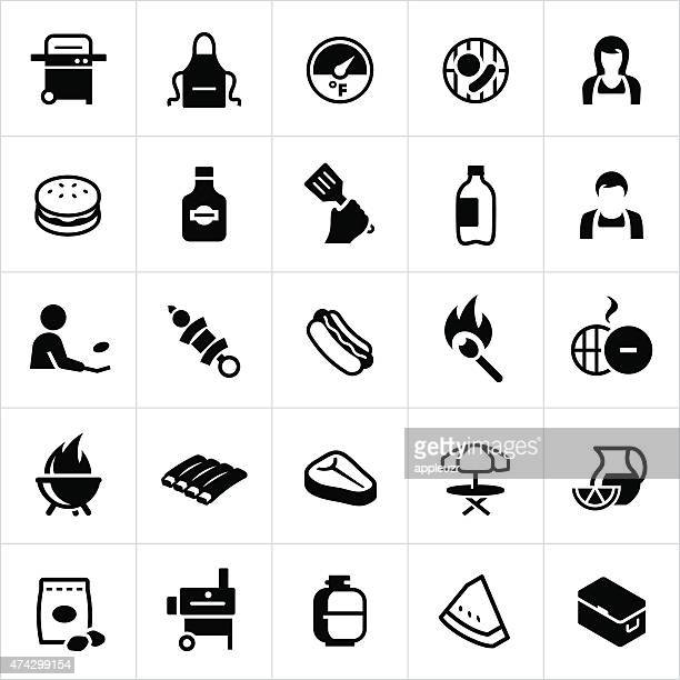 outdoor grilling and bbq icons - ice bucket stock illustrations, clip art, cartoons, & icons