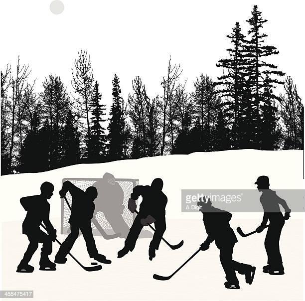 outdoor hockey vector silhouette - ice hockey stick stock illustrations