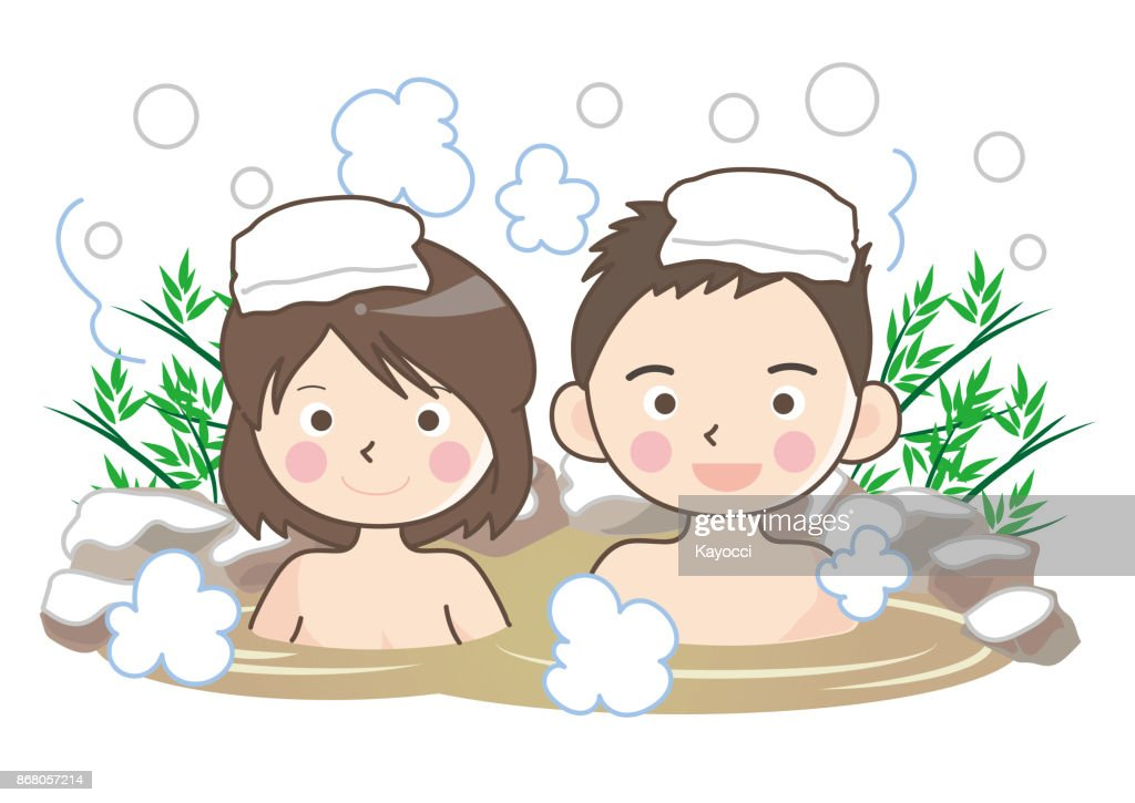 outdoor hot spring bath with snow - couple