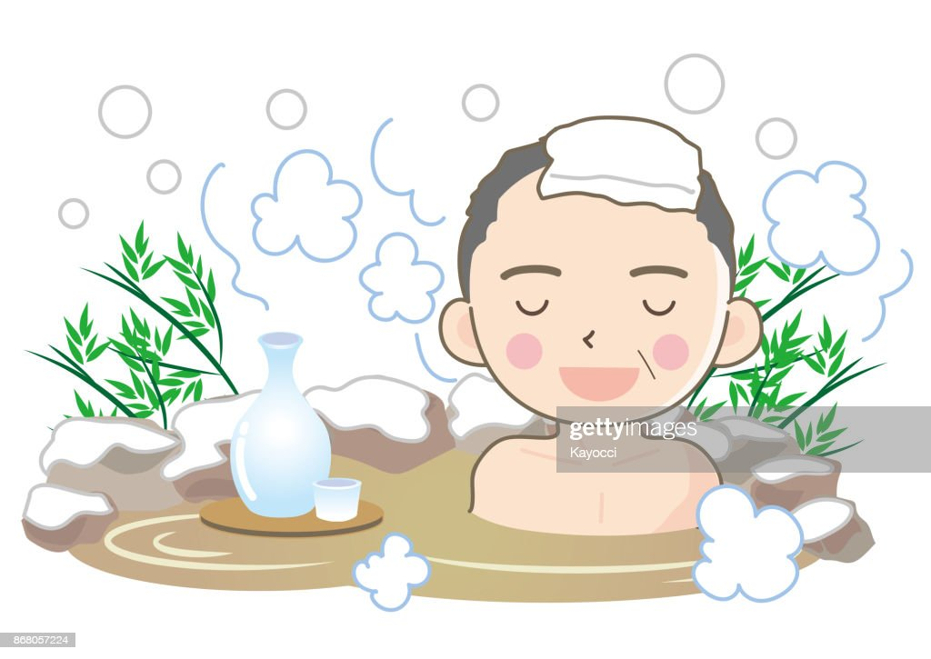 outdoor hot spring bath with snow - man