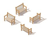 Outdoor park bench. Wooden bench isolated on white background. Isometric vector illustration in flat style with shadows.A place for rest, relaxation and picnic. The element of the Park or grove.