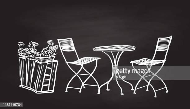 ilustrações de stock, clip art, desenhos animados e ícones de outdoor patio chair set - planta de vaso