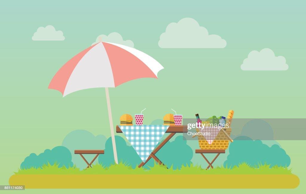 Outdoor picnic in park illustration