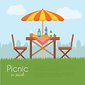 Outdoor picnic in park.