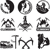 Outdoor pictures. Adventures and mountain climbing. Illustrations for labels or icon designs