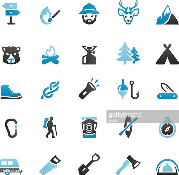 outdoor pursuit and camping - head above water stock illustrations