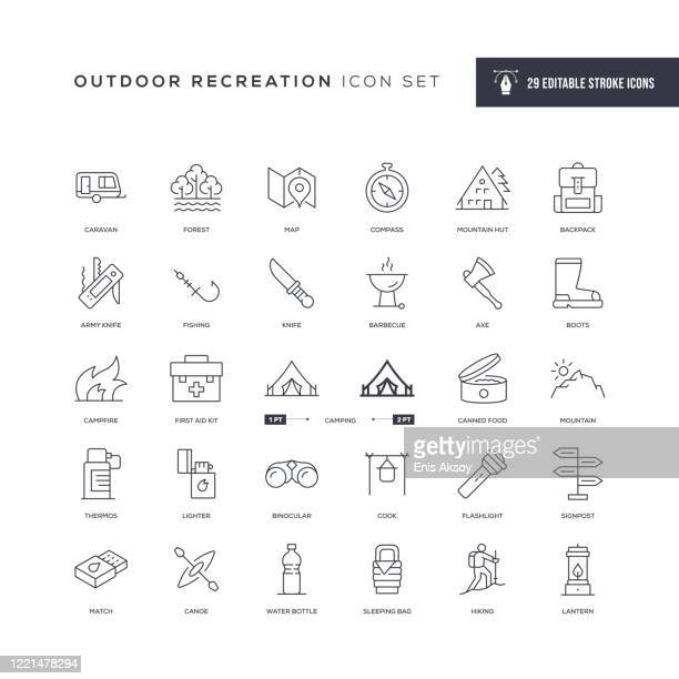 ilustrações, clipart, desenhos animados e ícones de ícones da linha de traçado editável de recreação ao ar livre - exterior