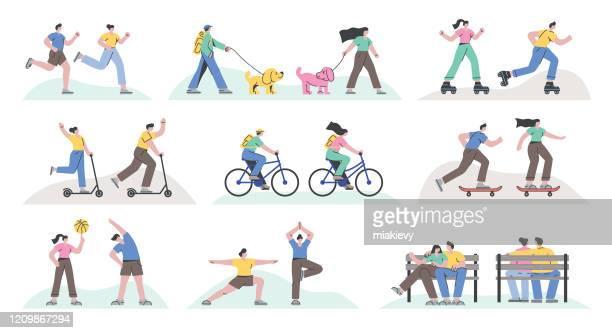 ilustrações, clipart, desenhos animados e ícones de atividades recreativas ao ar livre - ilustração e pintura