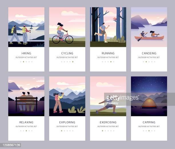 outdoor recreational activity set - scenics nature stock illustrations