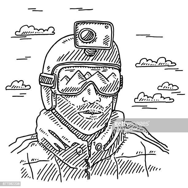 outdoor sportsman helmet camera drawing - pen and ink stock illustrations