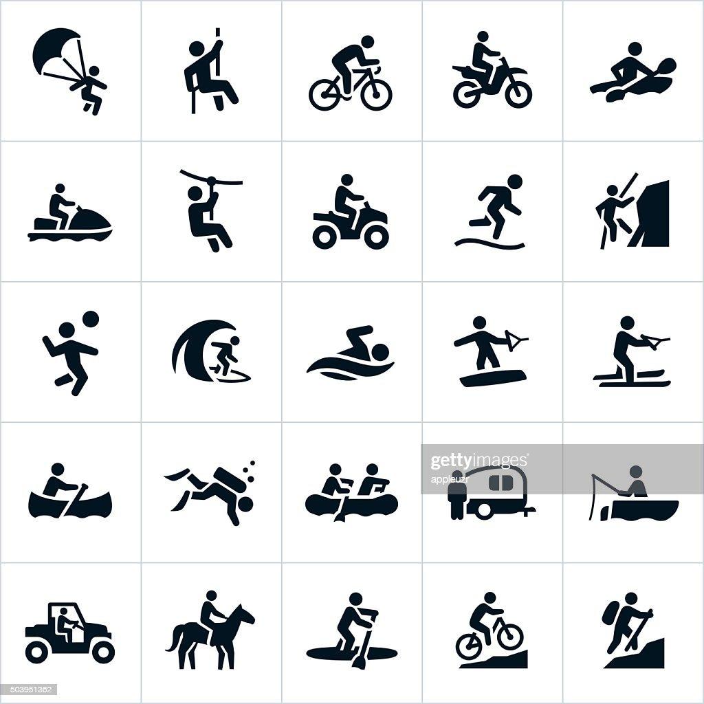 Verano, iconos de recreación al aire libre : Ilustración de stock