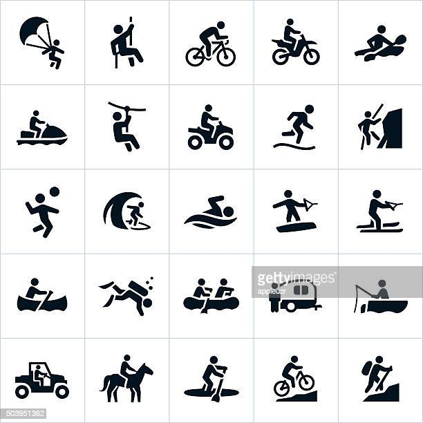 outdoor summer recreation icons - bicycle stock illustrations