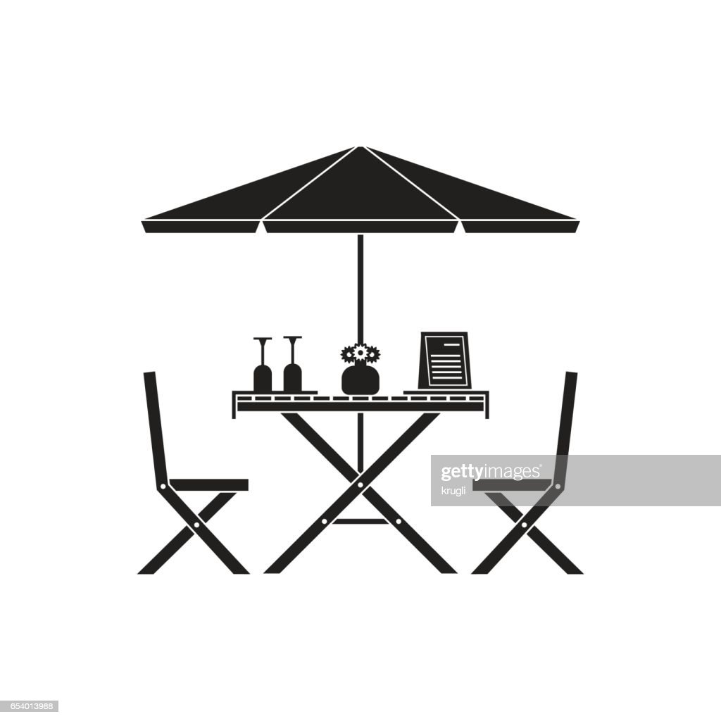 Outdoor Table and Chairs in Outline Design