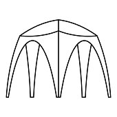 Outdoor tent icon, outline style