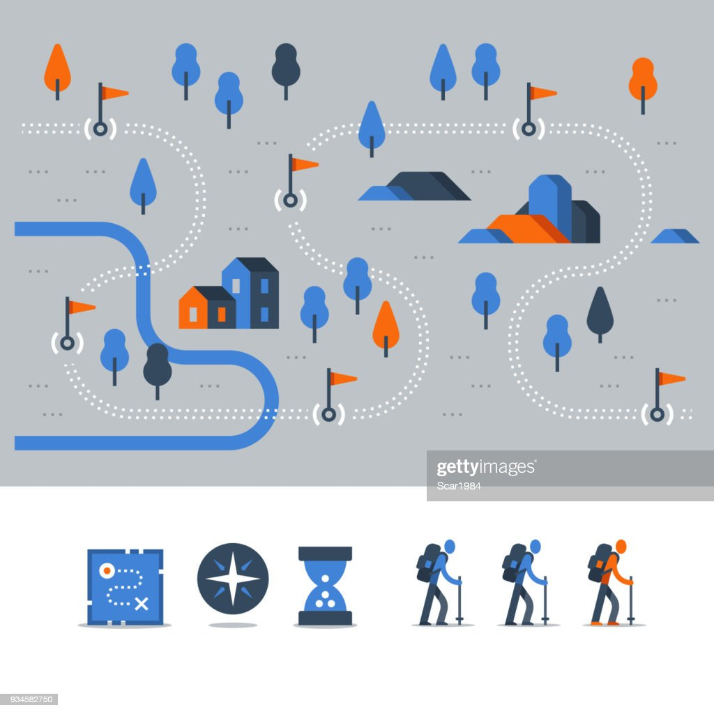 Outdoor trail, hiking map, countryside landscape, Nordic walking, orienteering concept, trail path with flags, vector icons