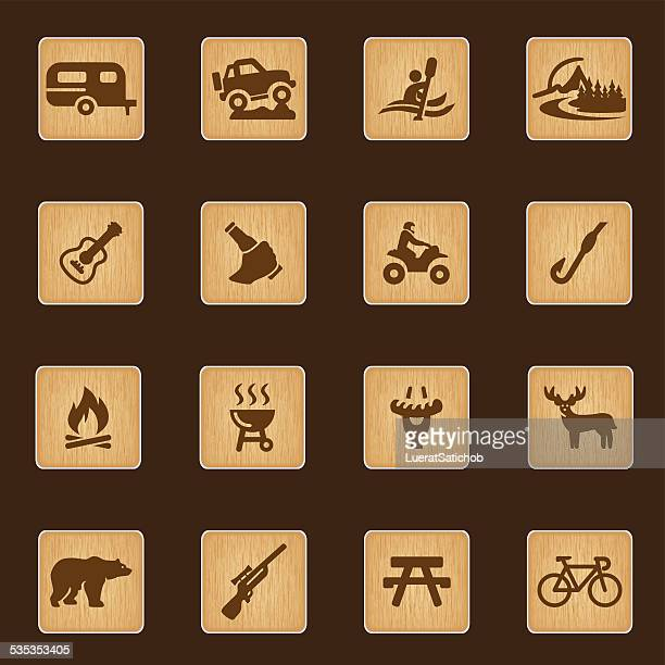outdoors and adventure wood texture icons| eps10 - bear tracks stock illustrations