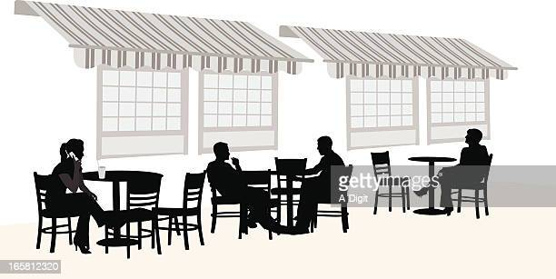 outdoors coffee vector silhouette - awning stock illustrations, clip art, cartoons, & icons