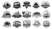 Outdoors nature badges. Adventure emblem, vintage wilderness label and outdooring camping badge vector illustration set