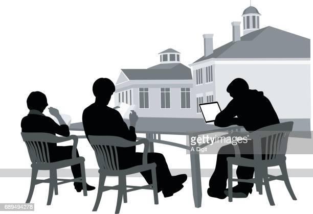 ilustrações de stock, clip art, desenhos animados e ícones de outdoors study group - patio de colegio