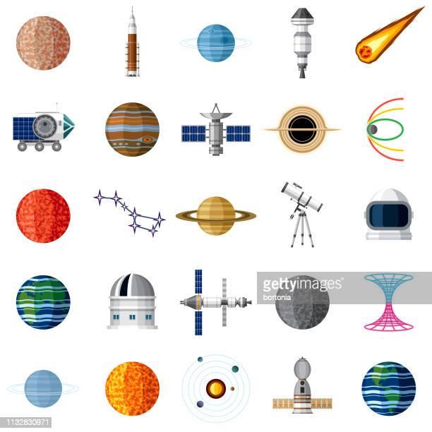 ilustraciones, imágenes clip art, dibujos animados e iconos de stock de conjunto de iconos del espacio exterior - cometa espacio
