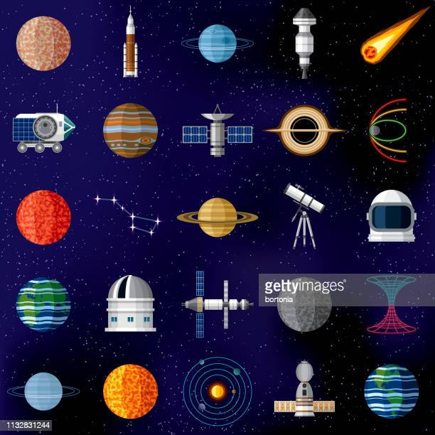 outer space icon set - black hole stock illustrations