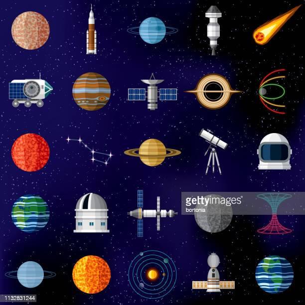 illustrazioni stock, clip art, cartoni animati e icone di tendenza di outer space icon set - missile razzo spaziale
