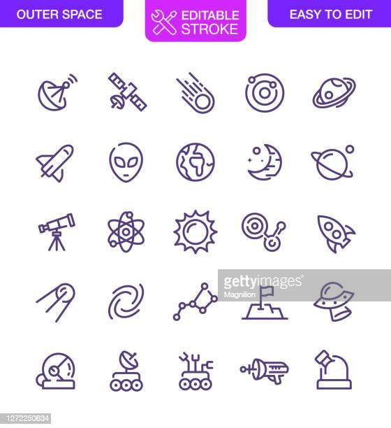 outer space icons set editable stroke - weltall stock-grafiken, -clipart, -cartoons und -symbole