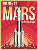 Outer space journey to Mars background. Universe adventure project vector vintage poster