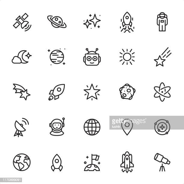 ilustraciones, imágenes clip art, dibujos animados e iconos de stock de espacio exterior - conjunto de iconos de contorno - cometa espacio