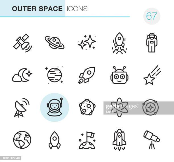 outer space - pixel perfect icons - space and astronomy stock illustrations