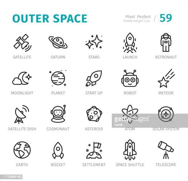 outer space - pixel perfect liniensymbole mit beschriftungen - stapellauf stock-grafiken, -clipart, -cartoons und -symbole