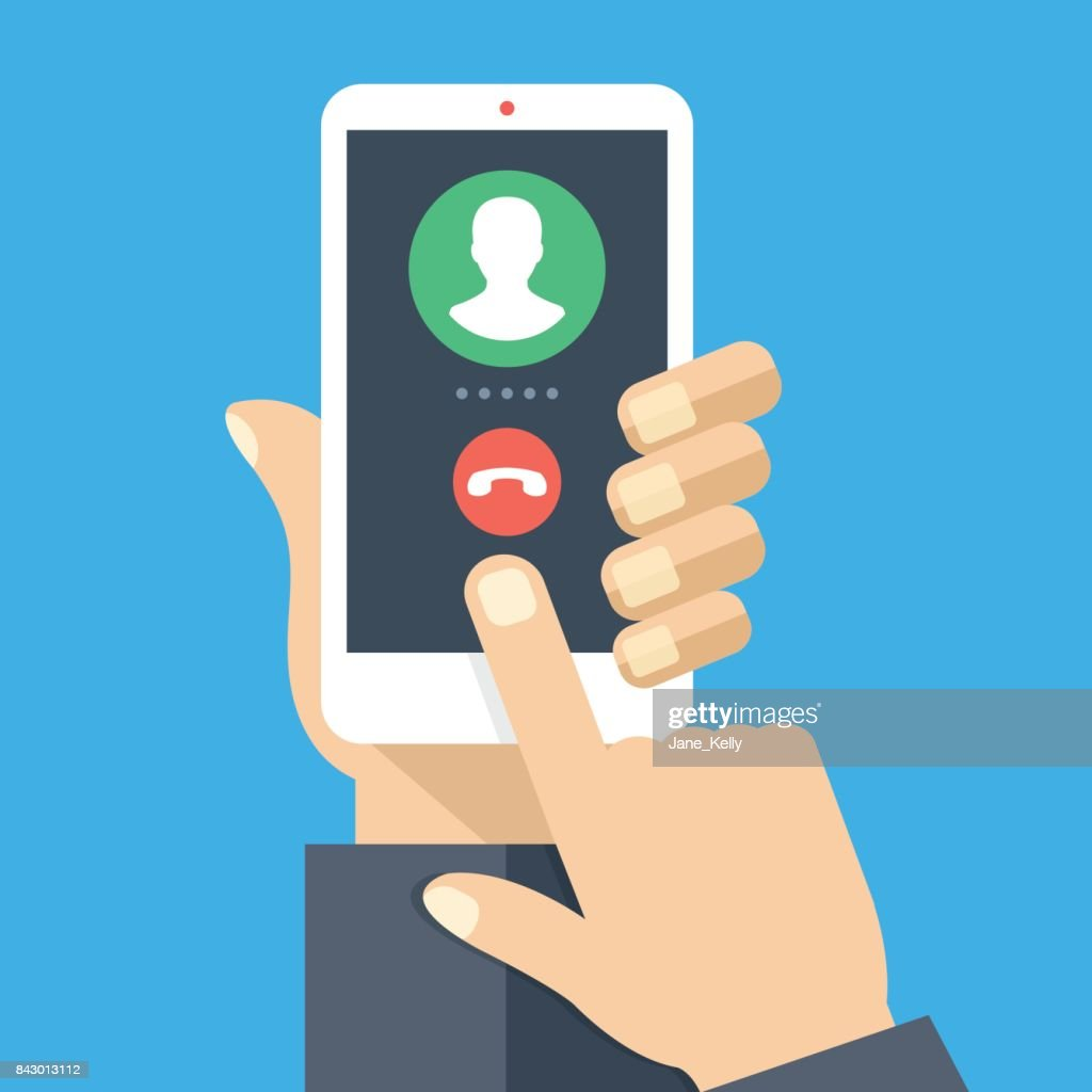 Outgoing call. White smartphone with call screen. Waiting for answer concept. Human hand holding cellphone, finger touching screen. Modern flat design vector illustration