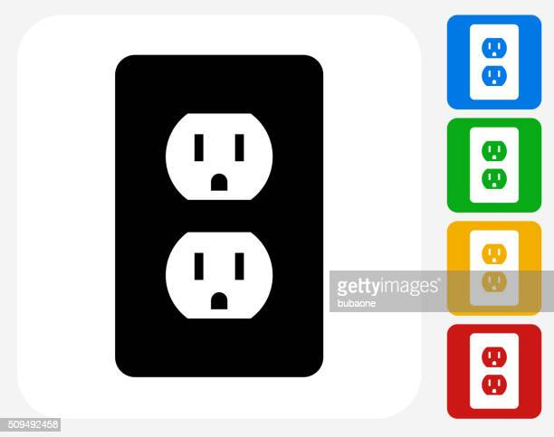 outlet icon flat graphic design - electric plug stock illustrations