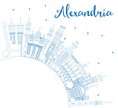 Outline Alexandria Egypt City Skyline with Blue Buildings and Copy Space.
