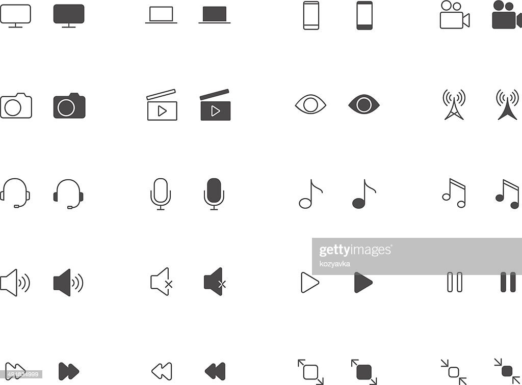 Outline and filled Media icon set