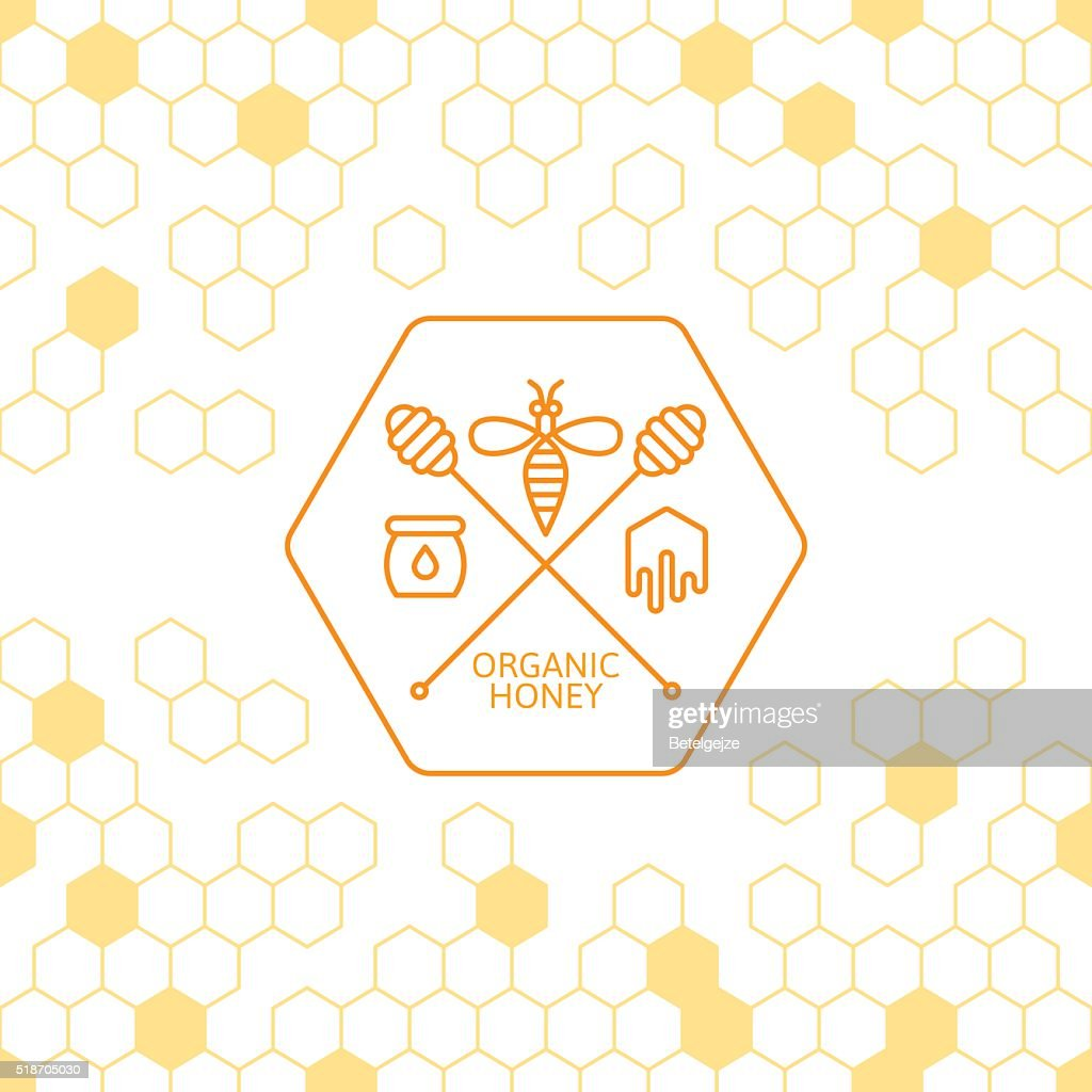 Outline bee and honey dipper symbol.