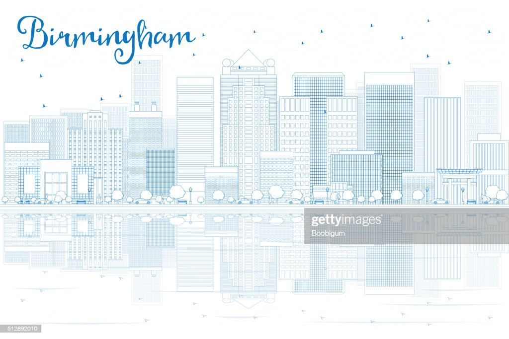 Outline Birmingham skyline with blue buildings and reflections.