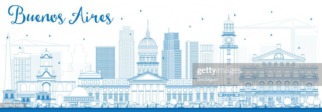 Outline Buenos Aires Skyline with Blue Landmarks.