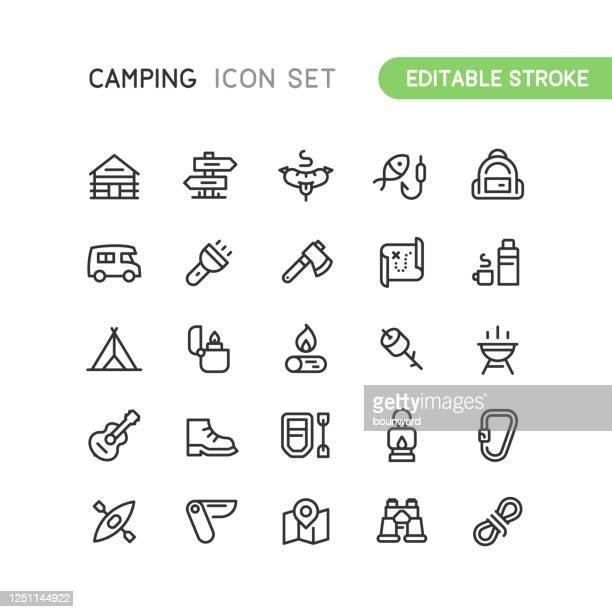 outline camping icons editable stroke - aquatic sport stock illustrations