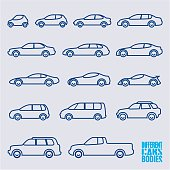 outline cars icons set