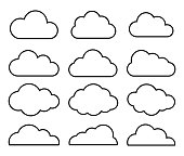 Outline cartoon flat style clouds icon collection. Weather forecast logo symbol. Vector illustration image. Isolated on white background.
