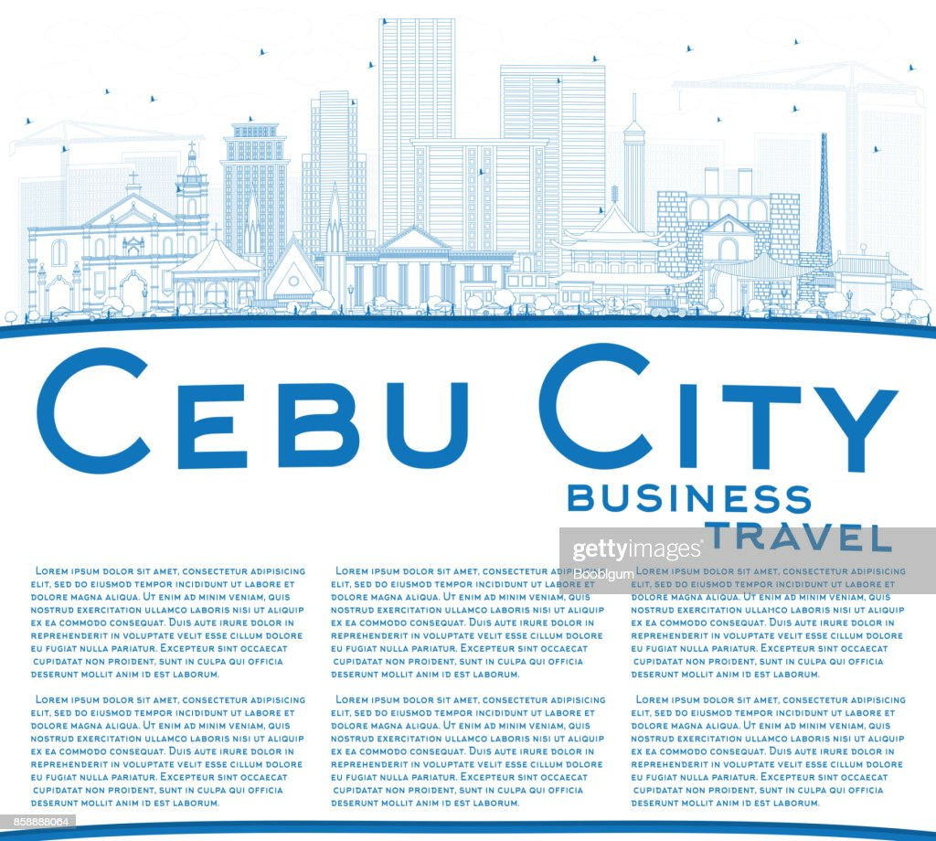 Outline Cebu City Philippines Skyline with Blue Buildings and Copy Space.