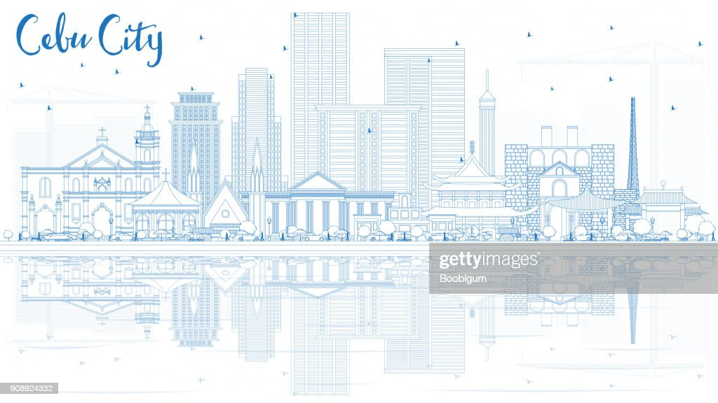 Outline Cebu City Philippines Skyline with Blue Buildings and Reflections.