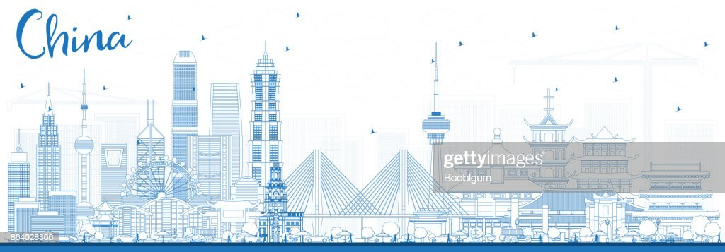 Outline China City Skyline. Famous Landmarks in China.