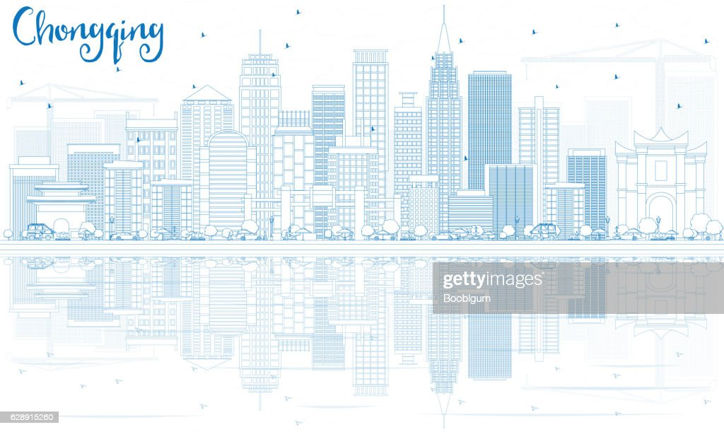 Outline Chongqing Skyline with Blue Buildings and Reflections.