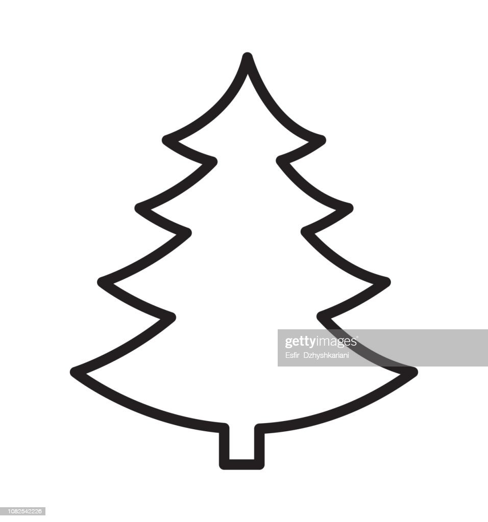 Outline Christmas tree vector silhouette icon flat isolated on white background