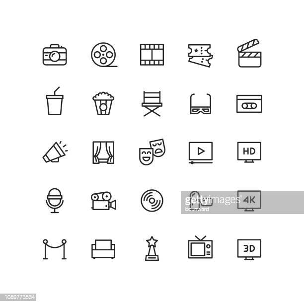 outline cinema & movie icons - architectural feature stock illustrations