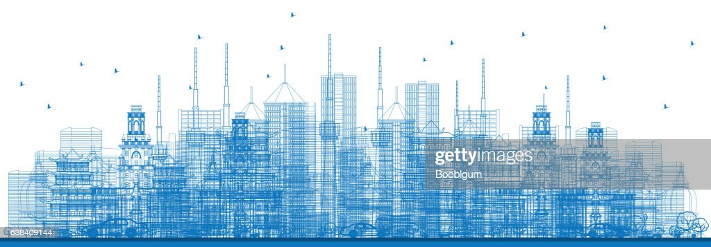 Outline City Skyscrapers and Buildings in Blue Color.