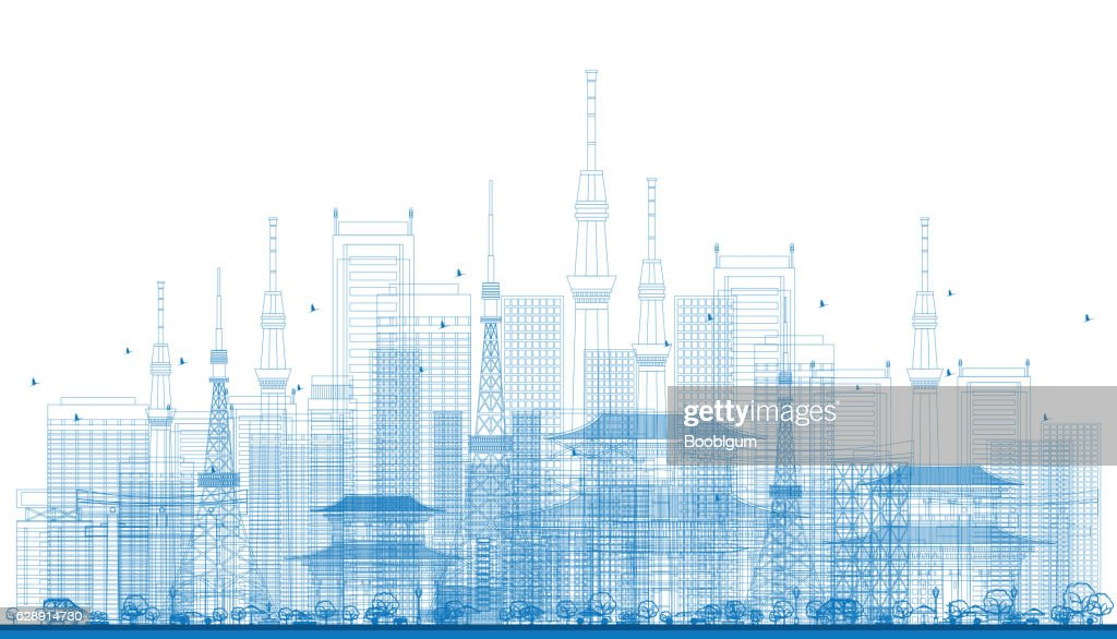 Outline City Skyscrapers and Tv Towers in Blue Color.